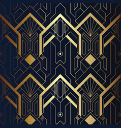 Abstract art seamless blue and golden pattern 21 vector