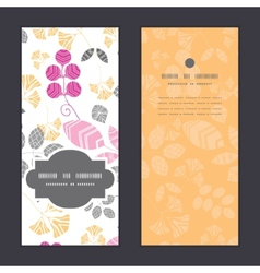 abstract pink yellow and gray leaves vertical vector image