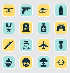 Army icons set collection of slug aircraft vector