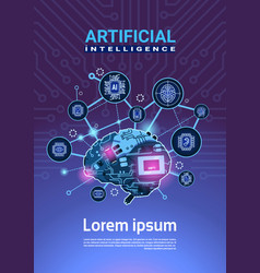 artificial intelligence banner with cyber brain vector image