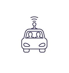 autonomous self drive car line icon on white vector image