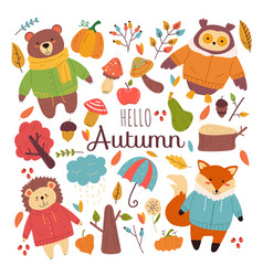 autumn forest animals hand drawn doodle vector image