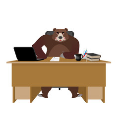 Bear sitting in an office russian boss at table vector