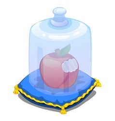 Bitten apple on pillow covered with glass cover vector