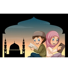 Boy and girl reading bible at mosque vector image