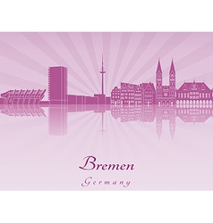 Bremen skyline in radiant orchid vector