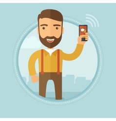 Businessman using smartphone vector image