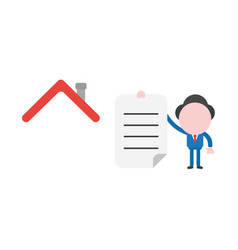 businessman with house roof and holding written vector image
