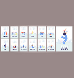 Calendar 2020 cards template music people style vector