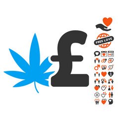 cannabis pound business icon with lovely bonus vector image