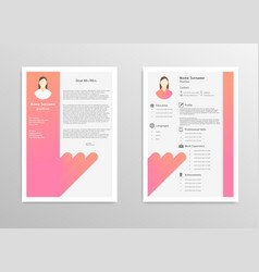 cartoon feminine resume with infographics vector image