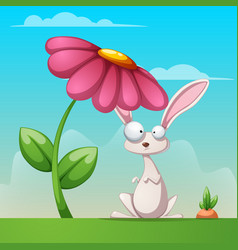 cartoon landscape funny cute rabbit vector image