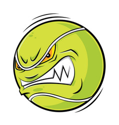 Cartoon tennis ball angry face vector