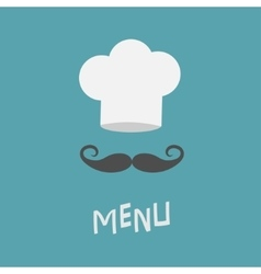 Chef hat and big mustache Menu card Restaurant vector image