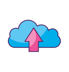 cloud computing with arrow upload vector image