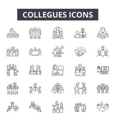 Collegues line icons signs set outline vector