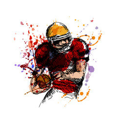 Colored sketch american football player vector