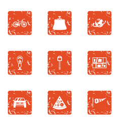 Communal carpark icons set grunge style vector