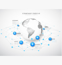 Company profile overview template with blue vector