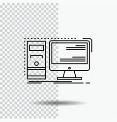 computer desktop hardware workstation system line vector image