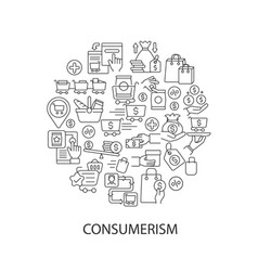 Consumerism abstract linear concept layout vector