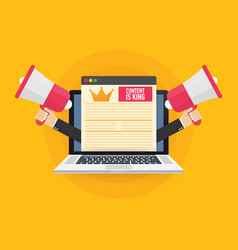 Content is king marketing concept on a laptop vector