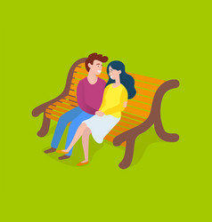 couple man and woman sitting on bench isolated vector image
