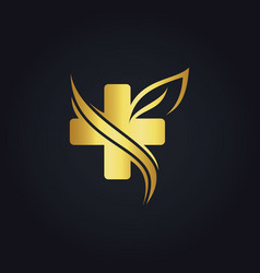 Cross organic gold logo vector
