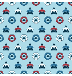 Crowns and roses pattern vector