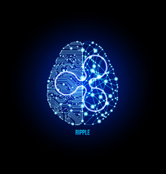 crypto currency ripple on brain background vector image
