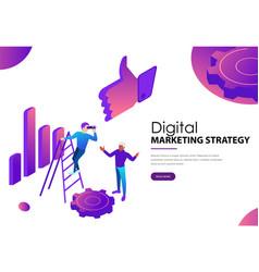 digital marketing strategy landing webpage vector image