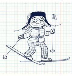 doodle skier vector image