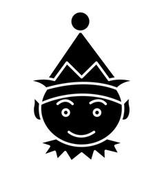 Elf icon black sign on vector