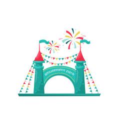 entrance to children amusement park two brick vector image