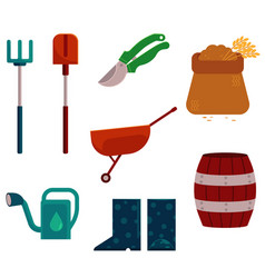 Farming and gardening tools set in flat cartoon vector
