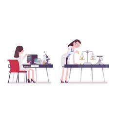 female scientist measuring vector image
