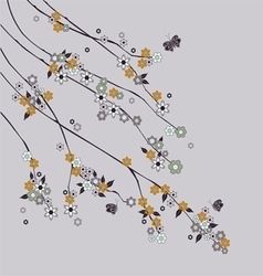 Flowering branch with butterflies vector