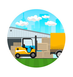 Forklift loads or unloads boxes icon vector