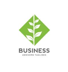 green leaf square logo vector image