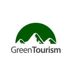 green tourism half circle mountain icon logo vector image