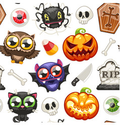 Halloween seamless pattern with cartoon characters vector