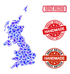 Hand collage united kingdom map and distress vector