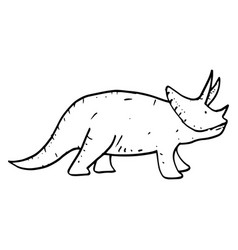 hand drawn doodle triceraptor vector image