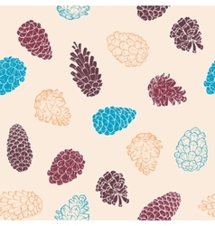Hand-Drawn seamless pattern with pine cones of vector