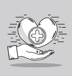 Hand with heart and cross symbol icon vector