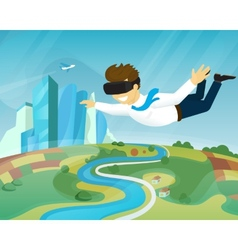 Happy guy is flying in virtual reality vector image