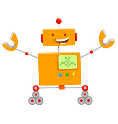 happy orange robot cartoon character vector image