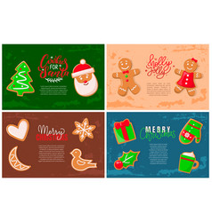 holly jolly gingerbread man santa claus cookie vector image