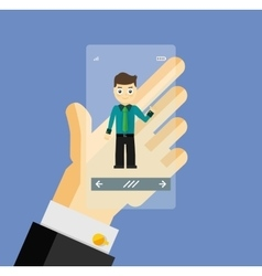 Human hand holding transparent screen smartphone vector image