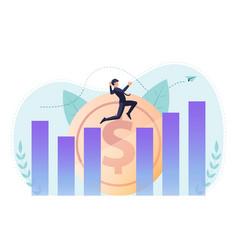 isometric businessman jumping across gap between vector image